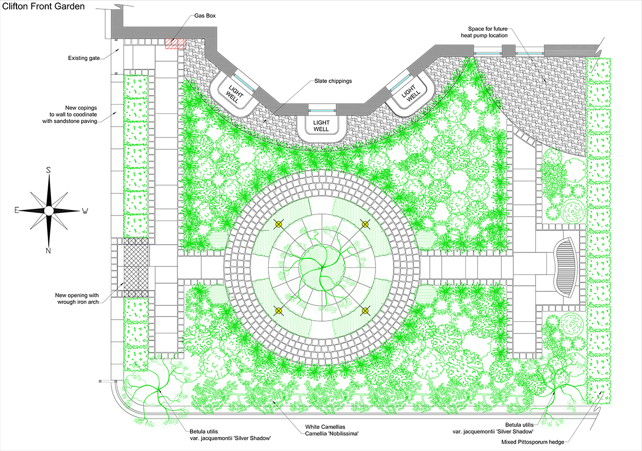 Formal front garden outerspace for Outer space garden design clevedon