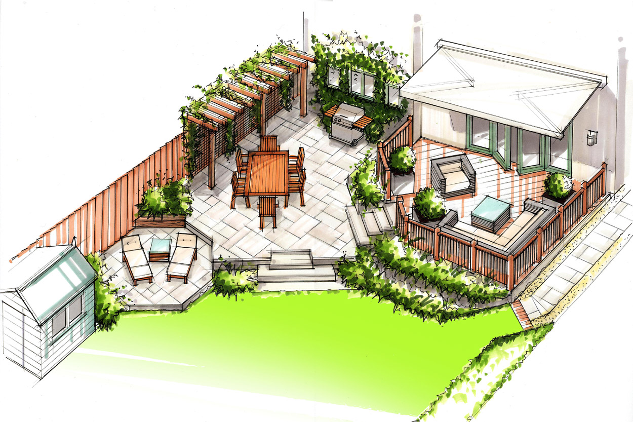 Family back garden outerspace for Garden design ideas by the sea