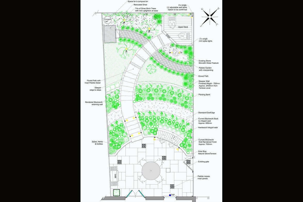 Sloping town garden outerspace for Outer space garden design clevedon